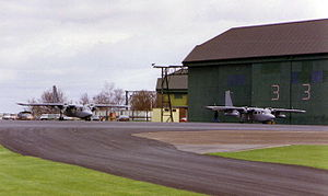 AAC Middle Wallop - Two AAC Pilatus Britten-Norman Turbine Defender aircraft outside the hangars at Middle Wallop