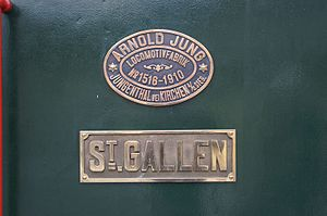 Arnold Jung Lokomotivfabrik - Factory plate on a steam locomotive