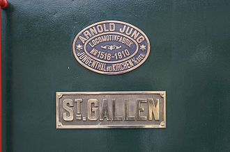 Arnold Jung Lokomotivfabrik - Factory plate on a steam locomotive
