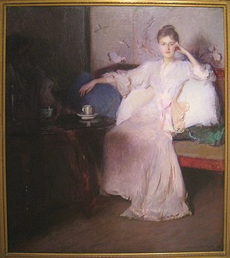 The Guild of Boston Artists - Image: Arrangement in Pink and Gray (Afternoon Tea), circa 1894, by Edmund C. Tarbell (1862 1938) Worcester Art Museum IMG 7585