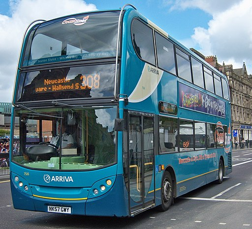 Arriva bus 7506 Alexander Dennis Trident 2 Enviro 400 NK57 GWY Coastliner branding in Newcastle upon Tyne 9 May 2009