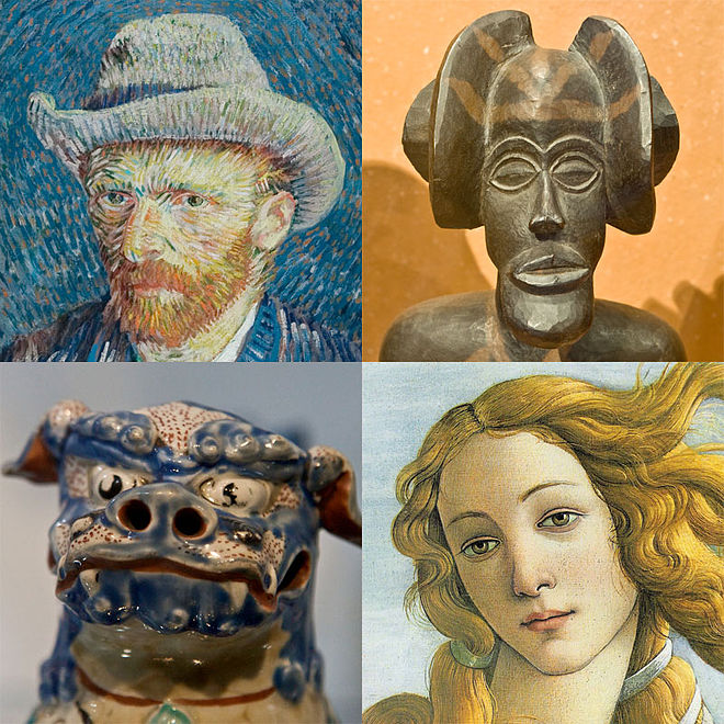 Clockwise from upper left: an 1887 self-portrait by Vincent van Gogh; a female ancestor figure by a Chokwe artist; detail from The Birth of Venus (c. 1484–1486) by Sandro Botticelli; and an Okinawan Shisa lion