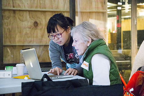 Intergenerational support at the 2014 Wikipedia Art+Feminism Edit-a-thon at Eyebeam in New York City