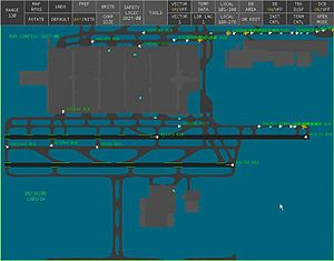 ASDE-X - An ASDE-X display showing ground traffic at Hartsfield-Jackson Atlanta International Airport.