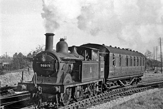 Midland Railway 1833 Class - 58071 with the Johnson boiler and condensing gear. Ashchurch - Tewkesbury - Great Malvern line in 1951.