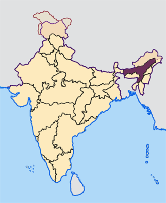 2009 Guwahati bombings - The state of Assam (highlighted in purple), the location of the attacks, shown within the rest of India.