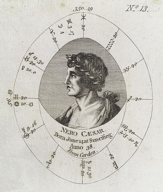 Natal Birth Chart: Astrological birth chart for Emperor Nero Wellcome L0040328 ,Chart
