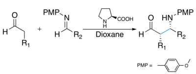Asymmetric syn Mannich reactions catalyzed by L-proline.png