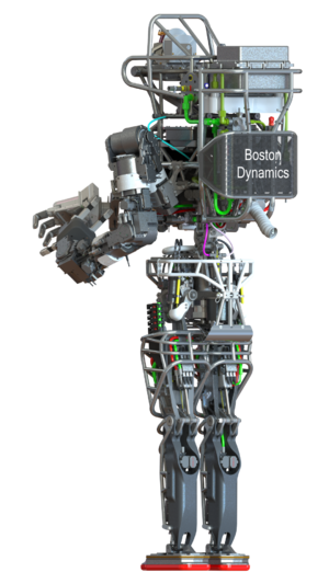 Military technology - A high-resolution computer drawing of the Atlas robot designed by Boston Dynamics and DARPA, as seen from behind.