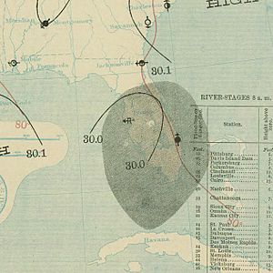 1898 Atlantic hurricane season - Image: August 2, 1898 hurricane 1 map