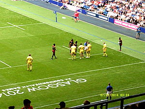 Uganda national rugby sevens team - Australia playing Uganda at the 2014 Commonwealth Games