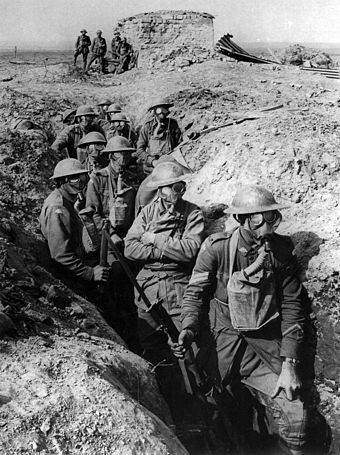 Australian troops at the Battle of Passchendaele in 1917. Australian infantry small box respirators Ypres 1917.jpg