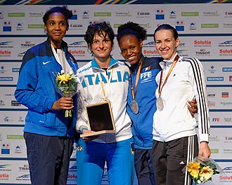 2014 European Fencing Championships - Podium of the women's épée: Candassamy, Del Carretto, Jacques-André-Coquin, and Gherman