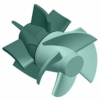 Axial-flow pump - The blades of an axial flow pump are twisted