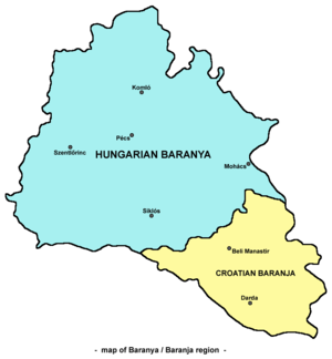 Baranya (region) - Map of the Baranya region