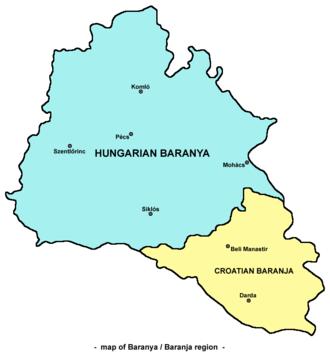 Baranya (region) - Map of the Baranya region