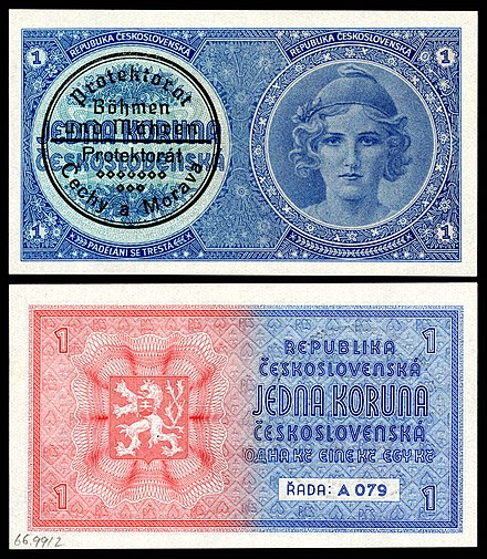 First issue of a Protectorate of Bohemia and Moravia 1 koruna note (1939). An unissued series of 1938 Republic of Czechoslovakia notes were marked with an identifying oval stamp on the front left side until regular issue could be circulated. BOH&MOR-1-Protectorate of Bohemia and Moravia-1 Koruna-(1939)ND.jpg