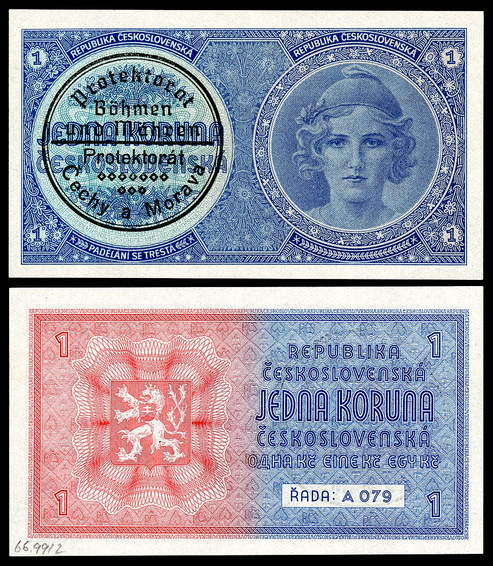 BOH%26MOR-1-Protectorate of Bohemia and Moravia-1 Koruna-(1939)ND