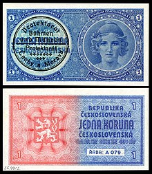 First issue of currency in Protectorate of Bohemia and Moravia (an unissued 1938 Czechoslovak note with a validation stamp for use in 1939)