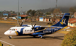 BUDDHA AIR ATR 42 9N-AIT AT POKHARA NEPAL FEB2013 (8569365630).jpg