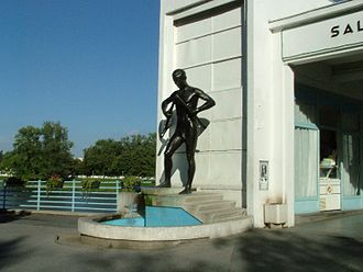 "Spa town - The statue of ""A man breaking a walking crutch"" in the spa town Piešťany (Slovakia) – a symbol of balneotherapy"