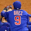 Baez celebrates after winning the 2016 World Series. (30658637601).jpg