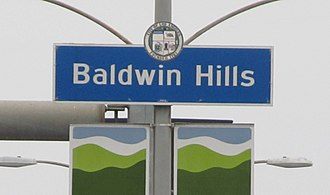 Baldwin Hills, Los Angeles - Baldwin Hills signage located at the intersection of La Brea Avenue and Stocker Street