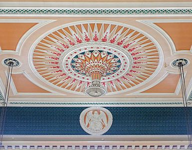 Ballroom ceiling, Todmorden Town Hall, West Yorkshire, England