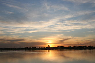 Wildlife of Mali - Sunset over the Bani River in Mali.