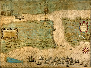 Baptista Boazio's Map of Sir Francis Drake's Raid on St. Augustine (published in 1589) (8879100326).jpg