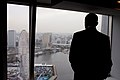 Barack Obama looks at the view from the InterContinental Yokohama Grand Hotel 20101112.jpg