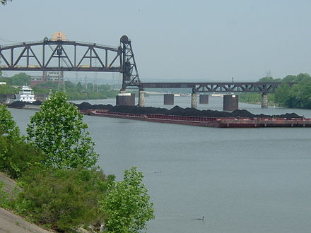 A barge hauling coal in the Louisville and Portland Canal, the only manmade section of the Ohio River Barge hauling coal, Louisville and Portland Canal.jpg