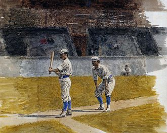 History of baseball in the United States - Baseball Players Practicing, by Thomas Eakins (1875)