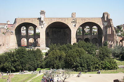 Remains of the Basilica of Maxentius and Constantine in Rome.  The building's northern aisle is all that remains.