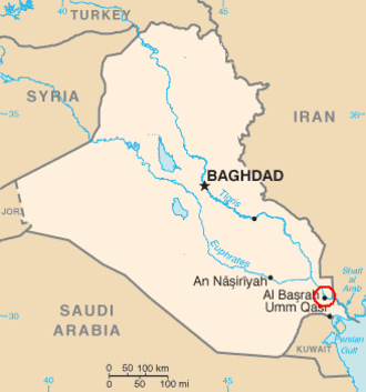 Battle of Basra (2008) - Location of Basra