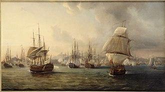 Battle of Porto Praya - Combat de la baie de la Praia dans l'île de Santiago au Cap Vert, le 16 avril 1781, by Pierre-Julien Gilbert (1783–1860)