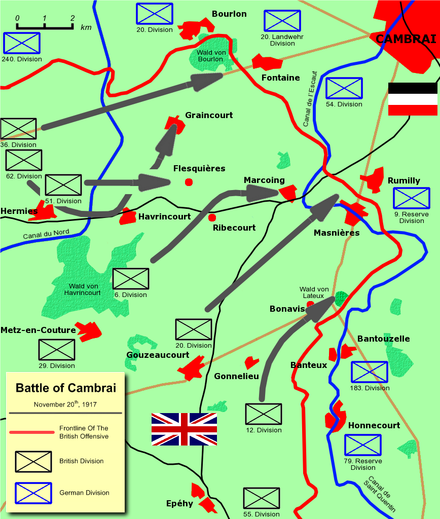 Initial British gains at Cambrai Battle of cambrai 3 - British Offensive.png