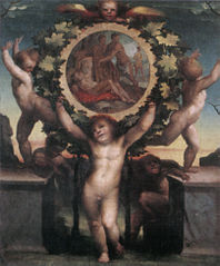 Putti Bearing a Tondo showing the Drunkenness of Noah