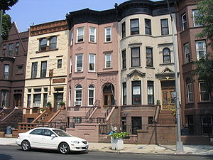 Brownstone - Painted brownstone rowhouses in Bedford-Stuyvesant, Brooklyn, New York