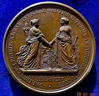 Auguste-François Michaut - On the reverse of this medal the personifications of Belgium and Holland show clasping hands.