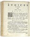 Benedictus de Spinoza - Ethices Pars secunda, De Naturâ & Origine mentis, 1677.jpg