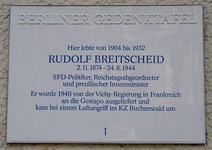 Rudolf Breitscheid - Memorial plaque to Breitscheid in Berlin stating that he died in an air raid on Buchenwald.