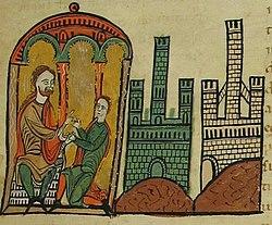 Bernard Tallaferro, donates the castles of Tautavel and Pena to his son and future successor William I.jpg