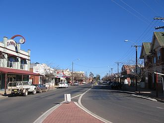 Berrigan, New South Wales - Chanter Street, Berrigan, looking west; the main street of Berrigan contains a mix of Federation and more-modern architectural styles.