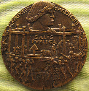 Pazzi conspiracy - Commemorative medal by Bertoldo di Giovanni, 1478, showing the assassination attempt (Staatliche Münzsammlung, Munich)