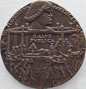 Pazzi conspiracy - Commemorative medal by Bertoldo di Giovanni, 1478, showing the assassination attempt (Staatliche Münzsammlung, Munich)