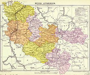 Bezirk Lothringen - Lorraine district with its subdistricts in different colours (1890)