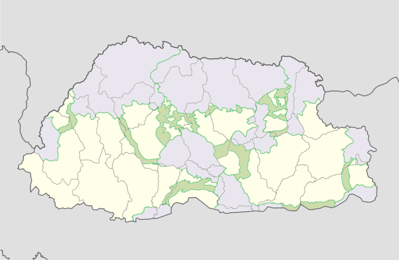 Protected areas in Lhuntse District: parks (lavender) and corridors (green).[14]