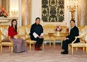 Bhutan–Japan relations - Bhutanese King (center), Queen (left) and Japanese Crown Prince at Tokyo Imperial Palace on November 16, 2011.