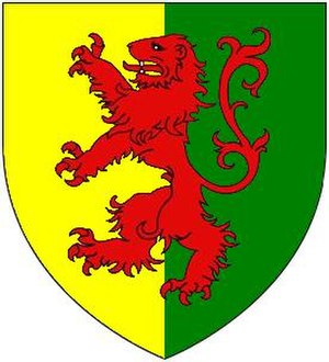 "Earl Marshal - Arms of ""Bigod Modern"": Party per pale or and vert, overall a lion rampant gules, adopted by Roger Bigod, 5th Earl of Norfolk (1269–1306), after 1269 following his inheritance of the office of Marshal of England from the Marshal family"